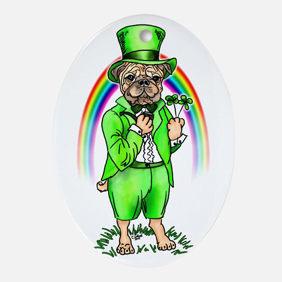 Pug St Patrick's Day Oval Ornament