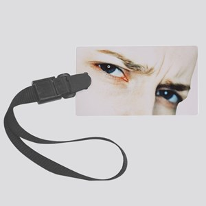Puzzled woman Large Luggage Tag