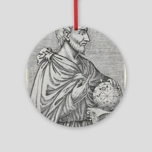 Pythagoras, Ancient Greek mathemati Round Ornament
