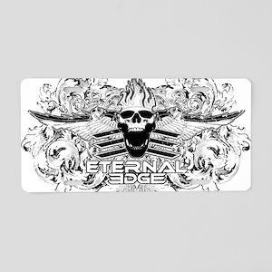 Eternal Edge-Skull Logo Wit Aluminum License Plate