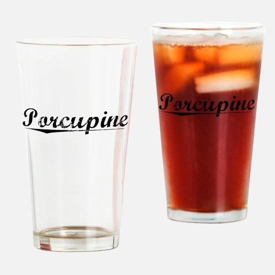 Porcupine, Vintage Drinking Glass