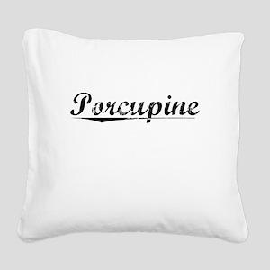 Porcupine, Vintage Square Canvas Pillow