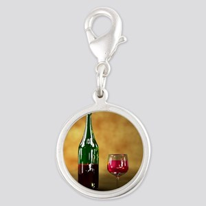 Red wine bottle and glass, art Silver Round Charm
