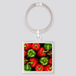 Red and green peppers Square Keychain
