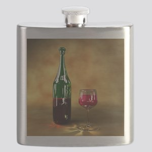 Red wine bottle and glass, artwork Flask