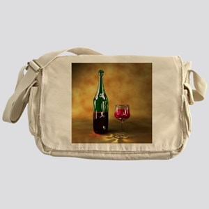 Red wine bottle and glass, artwork Messenger Bag