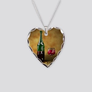 Red wine bottle and glass, ar Necklace Heart Charm