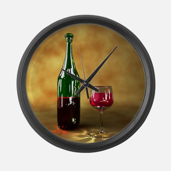 Red wine bottle and glass, artwor Large Wall Clock