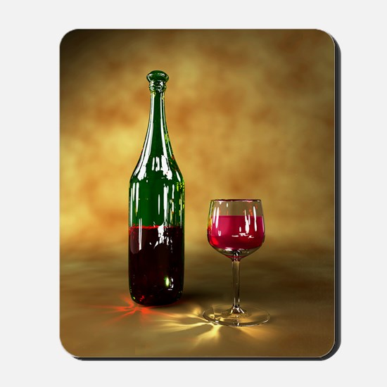 Red wine bottle and glass, artwork Mousepad