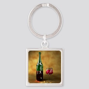 Red wine bottle and glass, artwork Square Keychain
