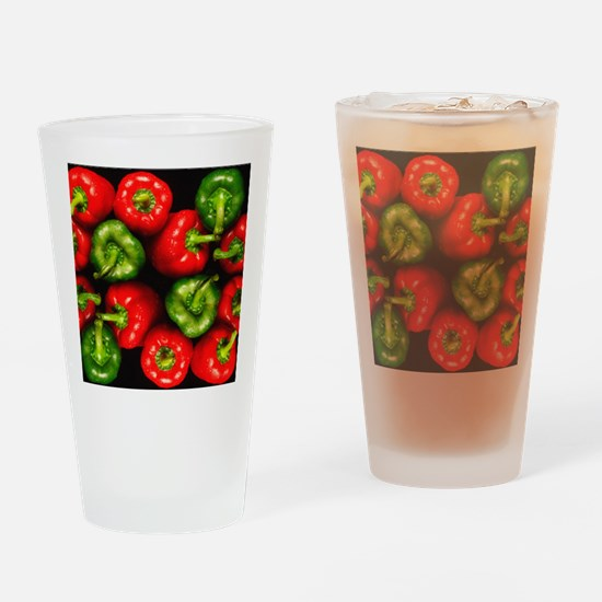Red and green peppers Drinking Glass