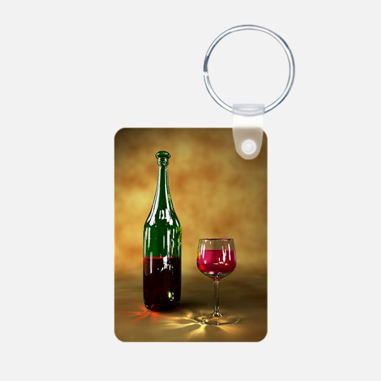 Red wine bottle and glass, Aluminum Photo Keychain