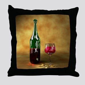 Red wine bottle and glass, artwork Throw Pillow