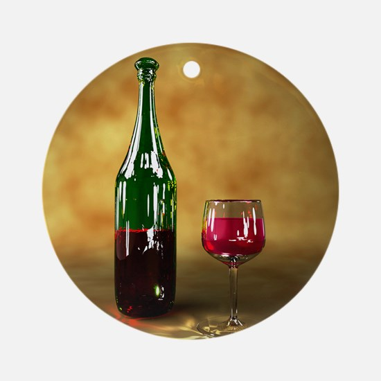 Red wine bottle and glass, artwork Round Ornament