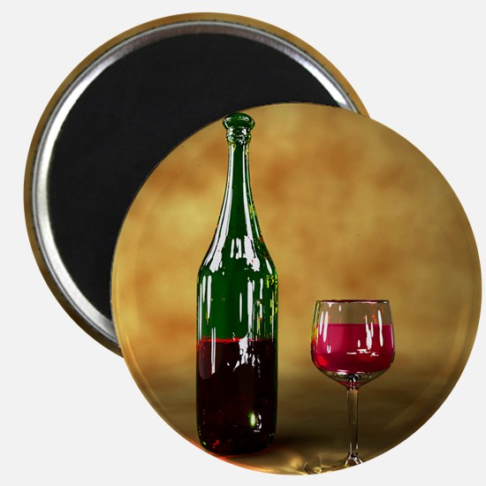 Red wine bottle and glass, artwork Magnet
