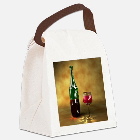 Red wine bottle and glass, artwor Canvas Lunch Bag