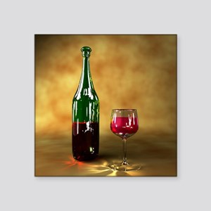 """Red wine bottle and glass,  Square Sticker 3"""" x 3"""""""