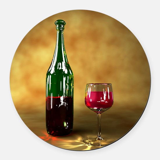 Red wine bottle and glass, artwor Round Car Magnet