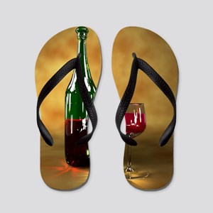 Red wine bottle and glass, artwork Flip Flops