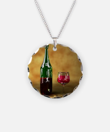 Red wine bottle and glass, a Necklace Circle Charm
