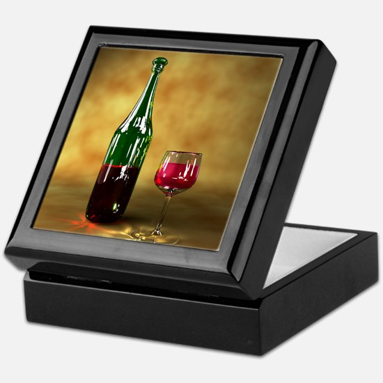 Red wine bottle and glass, artwork Keepsake Box