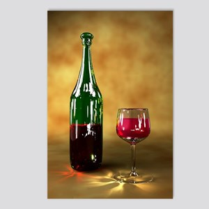 Red wine bottle and glass Postcards (Package of 8)