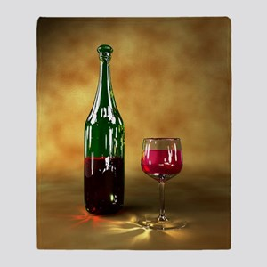 Red wine bottle and glass, artwork Throw Blanket