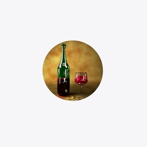 Red wine bottle and glass, artwork Mini Button