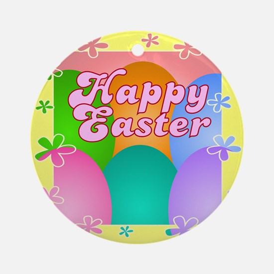 Happy Easter Flower Eggs Ornament (Round)