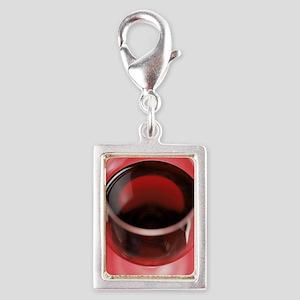 Red wine Silver Portrait Charm