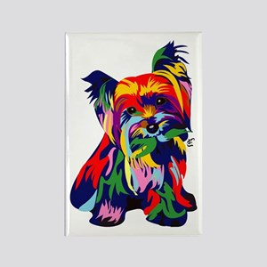 Bright Rainbow Yorkie Rectangle Magnet