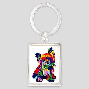 Bright Rainbow Yorkie Portrait Keychain
