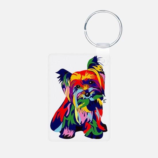 Bright Rainbow Yorkie Keychains