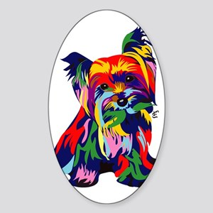 Bright Rainbow Yorkie Sticker (Oval)