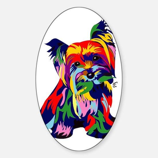 Bright Rainbow Yorkie Sticker (Oval)