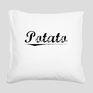 Potato, Vintage Square Canvas Pillow