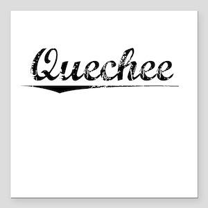 """Quechee, Vintage Square Car Magnet 3"""" x 3"""""""