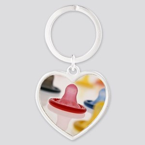 Rolled-up condoms Heart Keychain