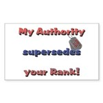 Army Wife Authority Rectangle Sticker