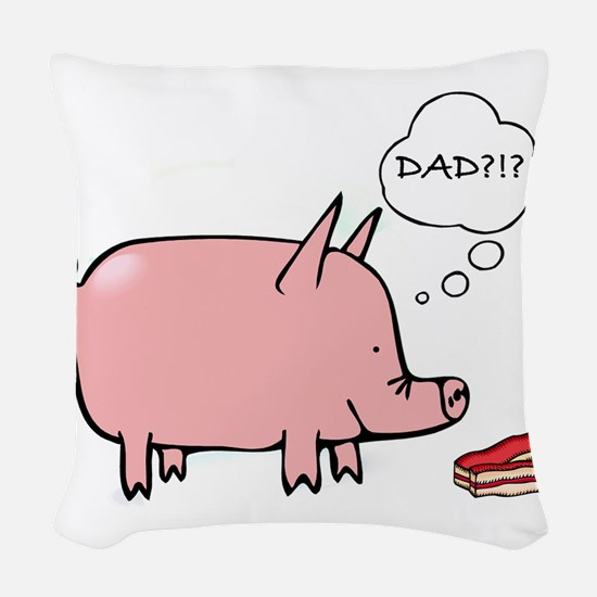Dad Bacon Woven Throw Pillow