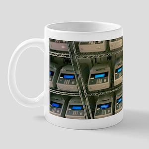 Rows of PCR systems copying human DNA Mug