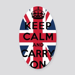 Union Jack Keep Calm And Carry On Oval Car Magnet