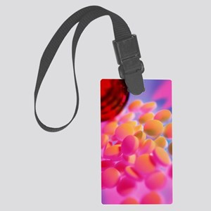 Scattered homeopathy pills next  Large Luggage Tag