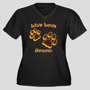 Live Love Gr Women's Plus Size Dark V-Neck T-Shirt