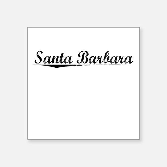 "Santa Barbara, Vintage Square Sticker 3"" x 3"""