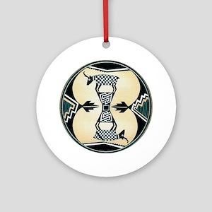 MIMBRES CHECKERED GOATS BOWL DESIGN Ornament (Roun