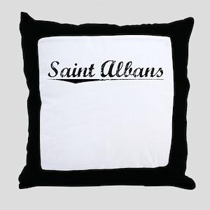 Saint Albans, Vintage Throw Pillow