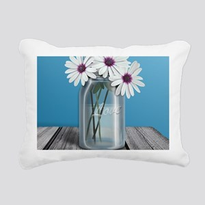 White and Purple Daisy M Rectangular Canvas Pillow