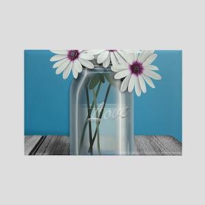 White and Purple Daisy Mason Jar  Rectangle Magnet