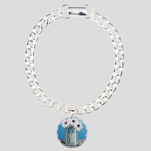 White and Purple Daisy M Charm Bracelet, One Charm
